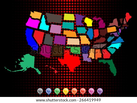 Detailed United States Map - Separated by borders - Vector Illustration - stock vector
