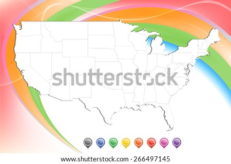 Detailed United States Map with pins & smooth abstract background  - stock vector