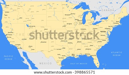 Detailed United States of America map   Vector a large color map of the USA - stock vector