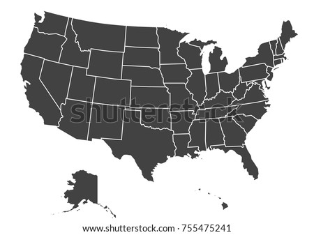 Outline Map Usa Isolated Vector Illustration Stock Vector - Usa map eps
