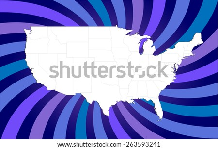 Detailed USA Map with Background - Vector Illustration - stock vector