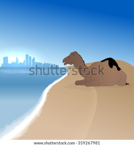 Detailed vector Abu Dhabi silhouette skyline with single camel - stock vector