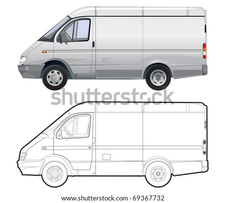 detailed vector cargo minibus isolated on white background with technical drawing - stock vector