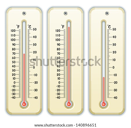 Detailed vector drawing of thermometers/Thermometers/Vector drawing of 3 thermometers, celcius, and fahrenheit and both combined, - stock vector