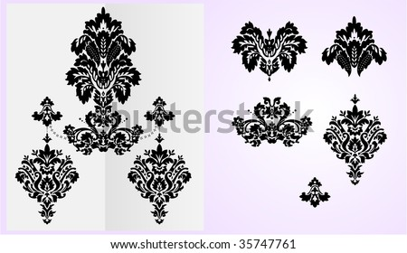 Detailed vector floral ornaments, each elements separated on layers for easy modification. - stock vector