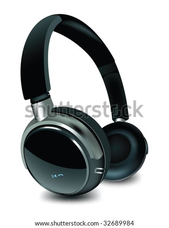 Detailed vector headphone. - stock vector