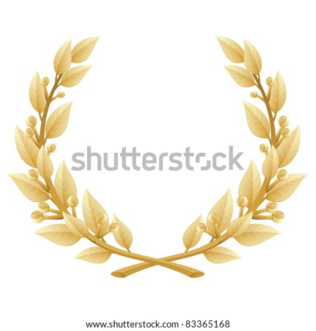 Detailed vector illustration of a gold laurel wreath award. Represents a victory, achievement, honor, quality product, or success. Ornate leaf sections. Isolated on a white background. - stock vector