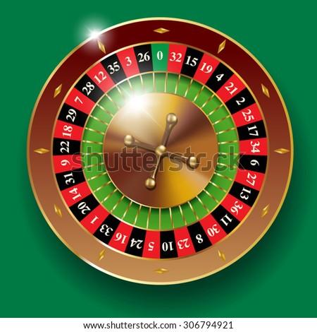Detailed vector illustration of casino roulette wheel - stock vector