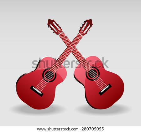 Detailed vector illustration of classical guitar. - stock vector