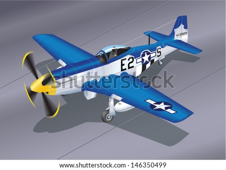 Detailed Vector Illustration of P-51 Mustang 'Easy 2 Sugar' Fighter Plane - stock vector