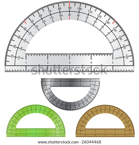 Detailed vector illustration of protractors used in drafting and engineering.