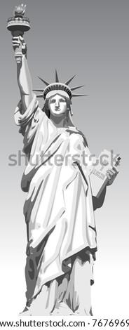 Detailed vector illustration of statue of liberty - stock vector