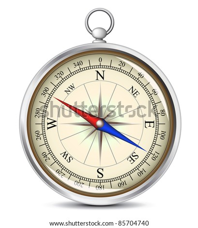 Detailed vector illustration of the compass - stock vector