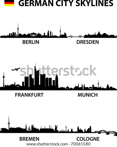 detailed vector illustration of the german cities Berlin, Bremen, Cologne, Dresden, Frankfurt am Main and Munich - stock vector