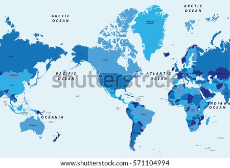 Detailed vector illustration world political map stock vector detailed vector illustration world political map centered by america gumiabroncs Image collections