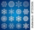 Detailed vector Isolated Snowflakes, collection for your design - stock vector