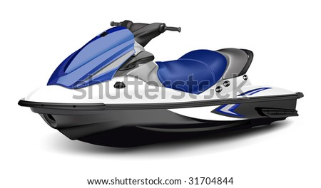 Detailed vector jet boat(scooter). - stock vector