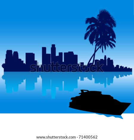 Detailed vector Los Angeles silhouette skyline with palm trees, reflection and yacht - stock vector