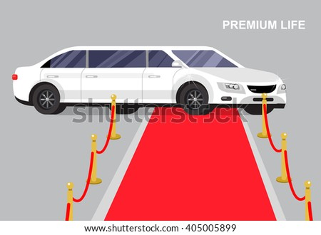 detailed vector luxury white limousine car and red carpet for world premiere celebrities and guests,  luxury white limousine,  luxury white limousine,  luxury white limousine - stock vector