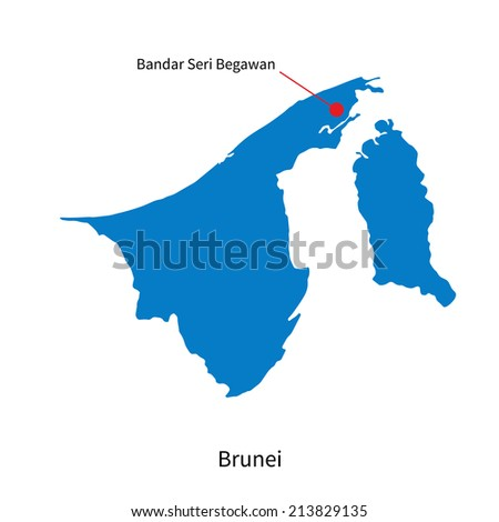 Detailed vector map of Brunei and capital city Bandar Seri Begawan