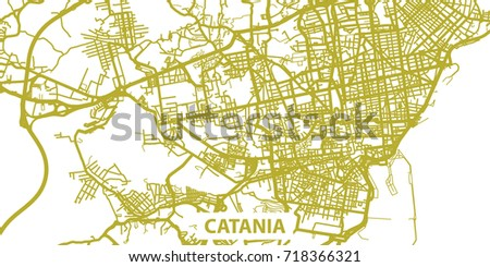 Detailed Vector Map Catania Gold Title Stock Vector 718366321