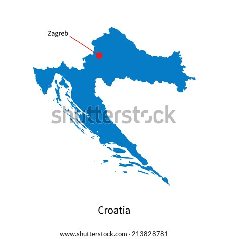Detailed vector map of Croatia and capital city Zagreb - stock vector