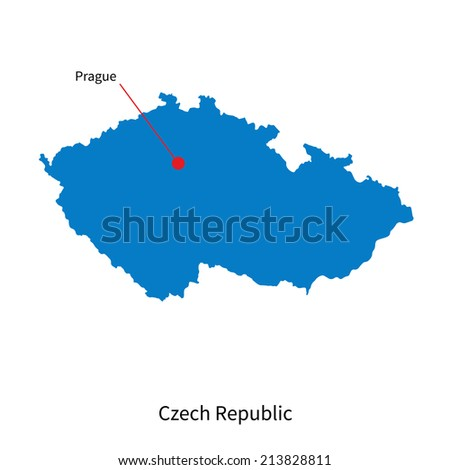 Detailed vector map of Czech Republic and capital city Prague - stock vector