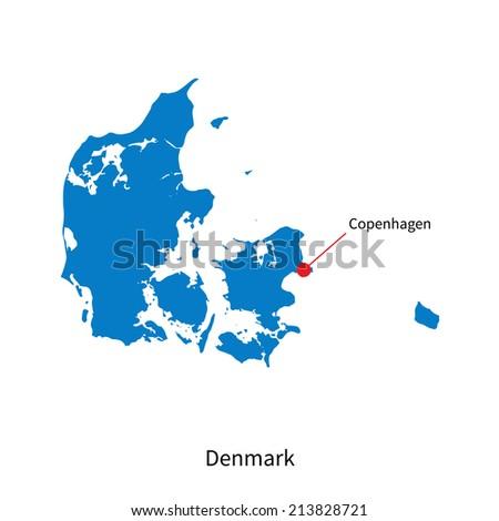 Detailed vector map of Denmark and capital city Copenhagen - stock vector
