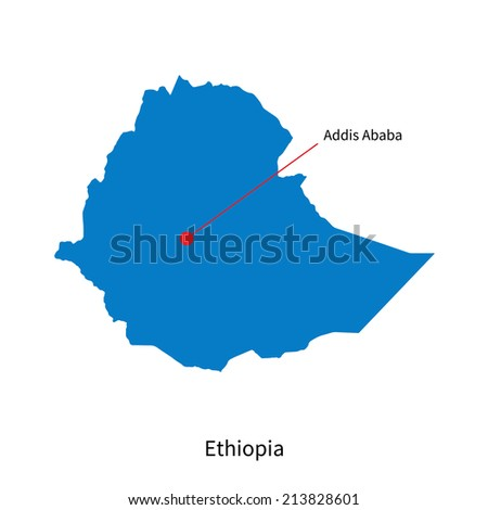 Detailed vector map of Ethiopia and capital city Addis Ababa - stock vector