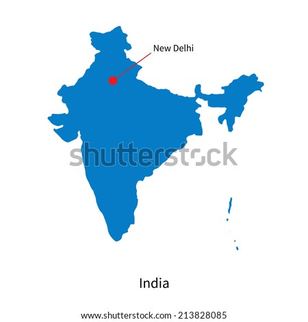 Detailed vector map of India and capital city New Delhi - stock vector