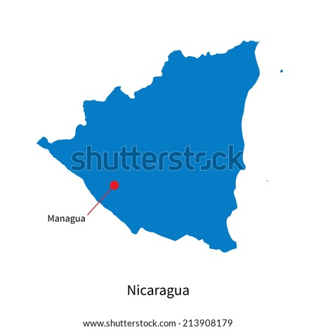 Detailed vector map of Nicaragua and capital city Managua - stock vector