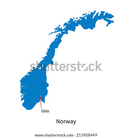 Detailed vector map of Norway and capital city Oslo - stock vector