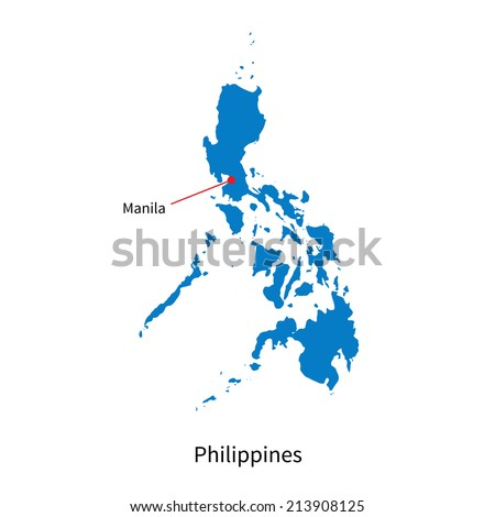 Detailed vector map of Philippines and capital city Manila - stock vector