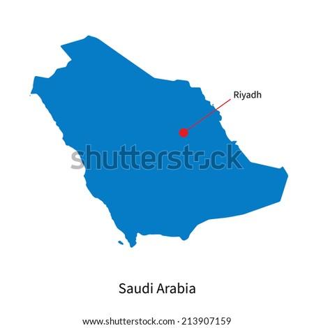 Detailed vector map of Saudi Arabia and capital city Riyadh - stock vector