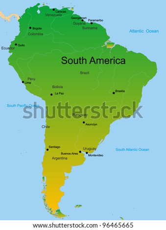 Detailed vector map of south america continent - stock vector