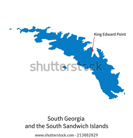 Detailed vector map of South Georgia and the South Sandwich Islands and capital city King Edward Point
