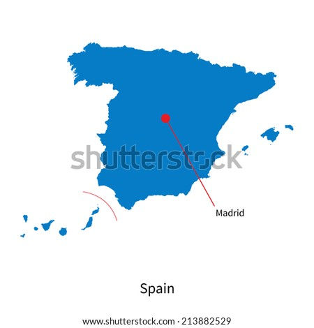 Detailed vector map of Spain and capital city Madrid - stock vector