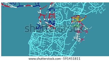 Detailed Vector Map Suva Based On Stock Vector 591451811 Shutterstock