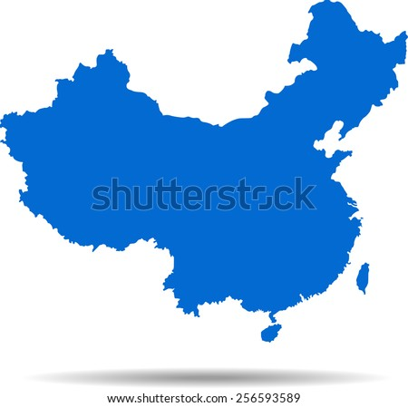 Detailed vector map of the china - stock vector