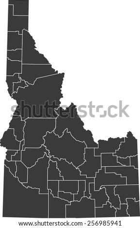 Detailed vector map of the Idaho - stock vector