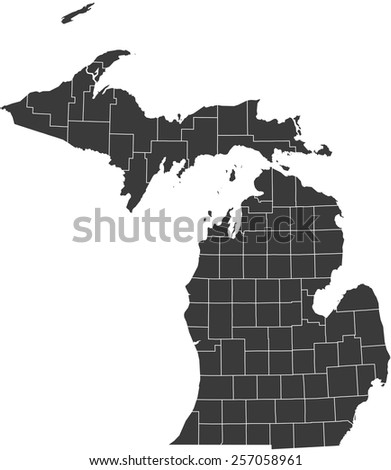 Detailed vector map of the Michigan - stock vector