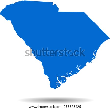Detailed vector map of the South Carolina - stock vector