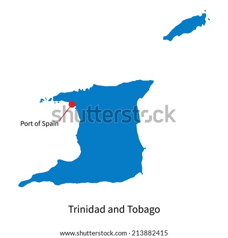 Detailed vector map of Trinidad and Tobago and capital city Port of Spain - stock vector