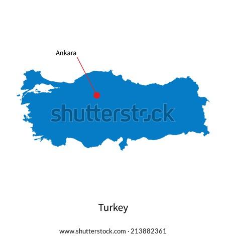 Detailed vector map of Turkey and capital city Ankara - stock vector