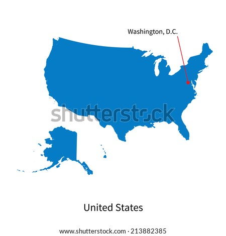 Detailed vector map of United States and capital city Washington - stock vector