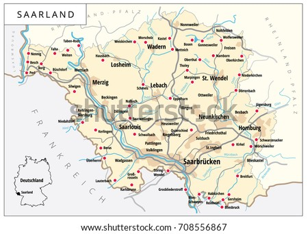 Detailed Vector Map Roads Cities Saarland Stock Vector HD Royalty
