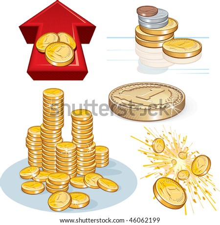 Detailed vector Pile of gold coins and other money theme symbols. - stock vector
