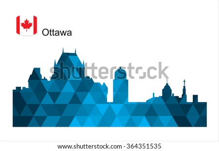 Detailed vector silhouette city of Ottawa - stock vector