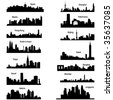 Detailed vector silhouettes of Asian cities - stock photo