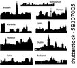 Detailed vector silhouettes of European cities part 2 - stock vector
